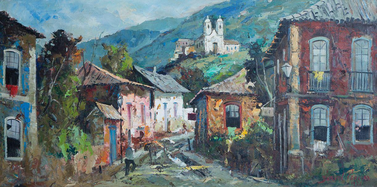 Durval Pereira pinta o casario colonial (óleo sobre tela, 120 x 60 cm), de 1971