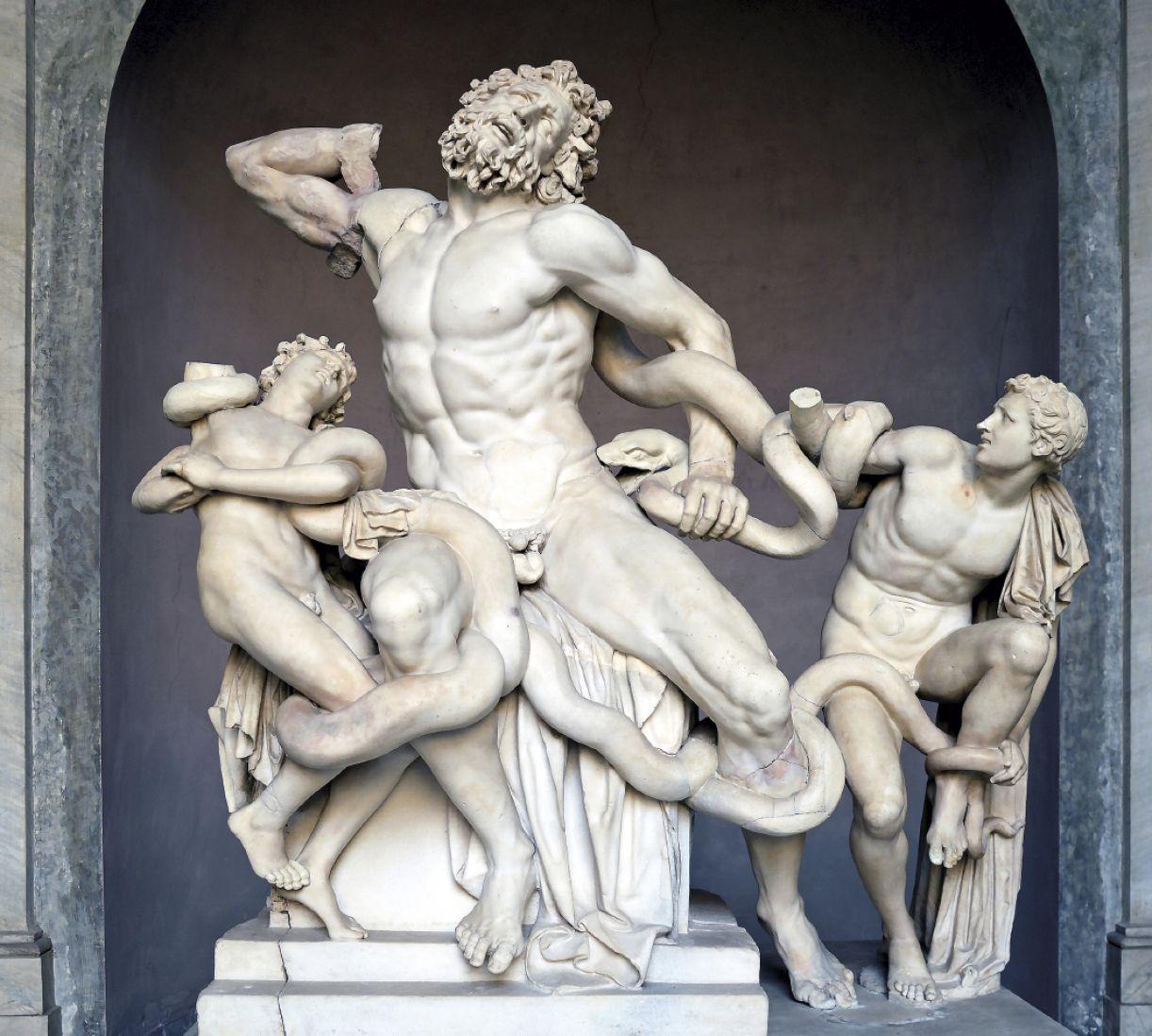 Warburg faz uma interpretação distinta do conjunto escultório de Laocoonte