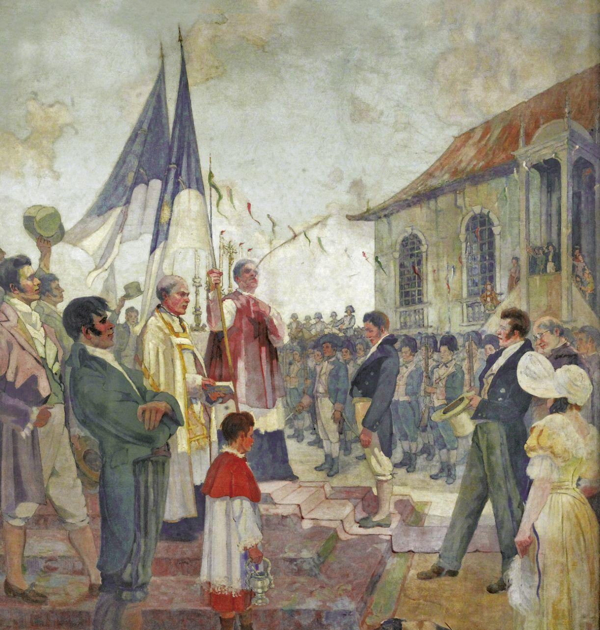 Pintura de Antônio Parreiras, 'Benção das Bandeiras da Revolução de 1817', retrata instauração da República de Pernambuco
