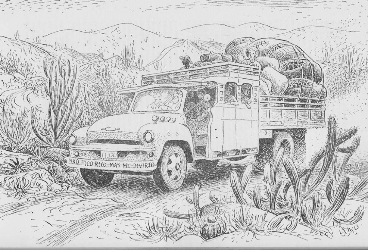 Desenho de pau-de-arara feito pelo peruano Percy Lau (1903-1972), que morou no Brasil e registrou sua gente