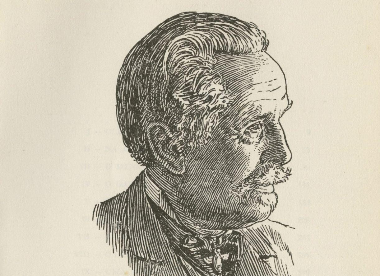 O autor Karl May em imagem ilustrada para a edição brasileira de 'Old Surehand'