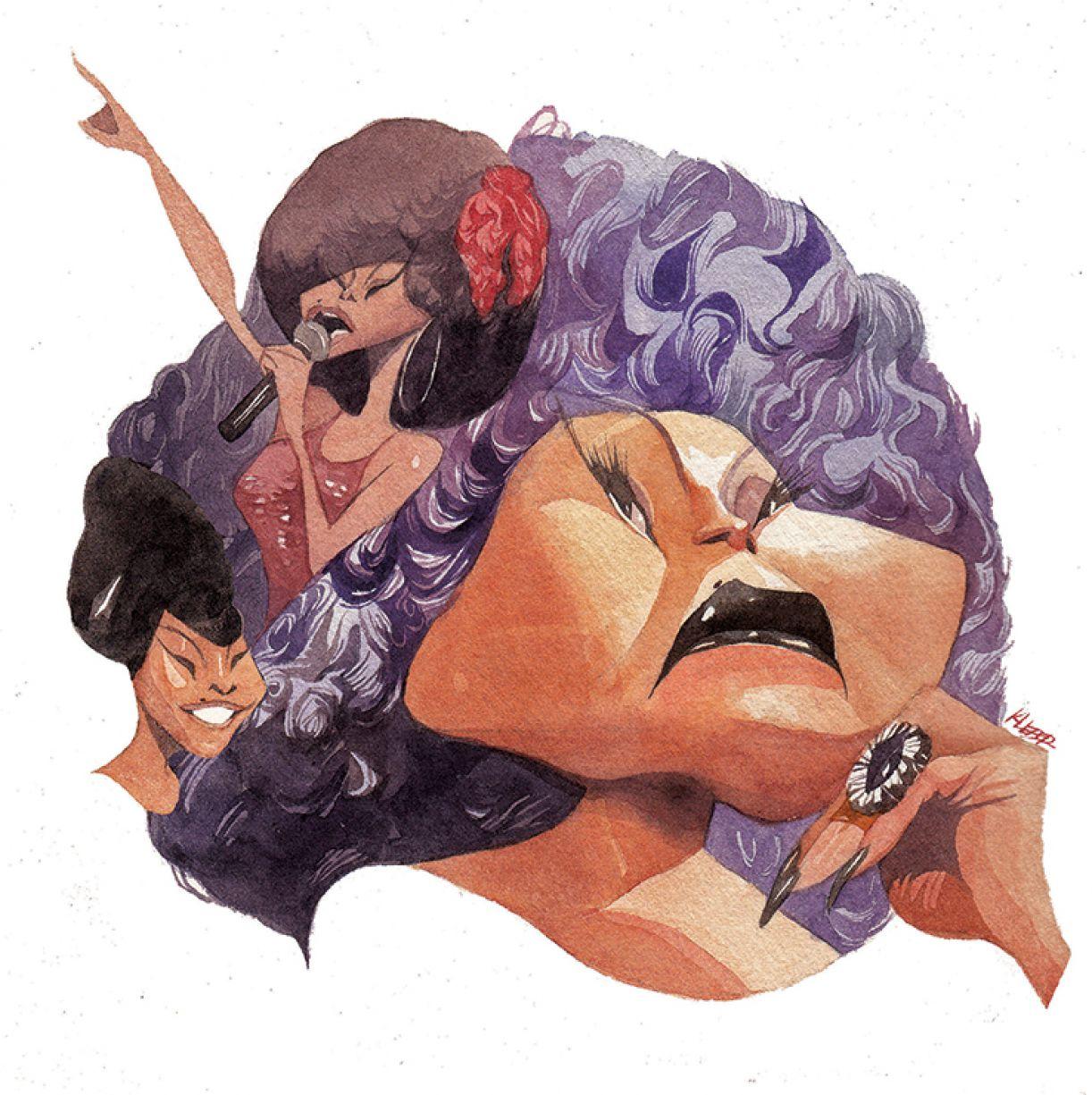Caricatura de Elza Soares
