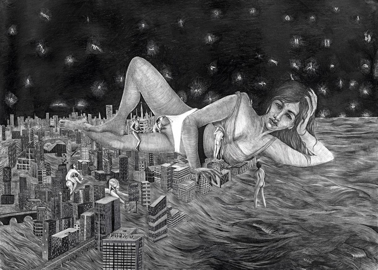 O fantástico e o erótico se confundem neste desenho, que compõe a série Animal incomum