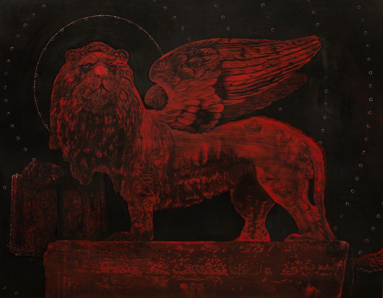 'Transmutação', 114 x 155 cm, óleo e carvão sobre papel, 2018