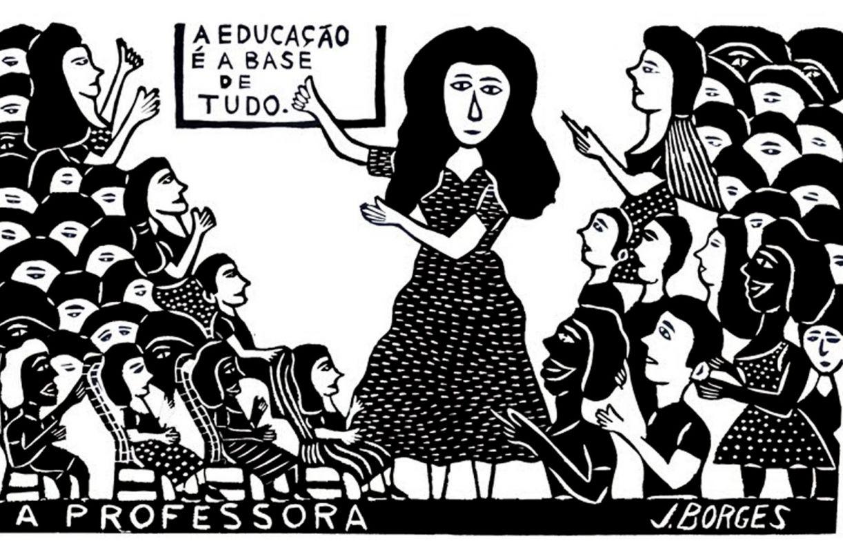 Quadro 'A professora', xilogravura, 48 x 66 cm