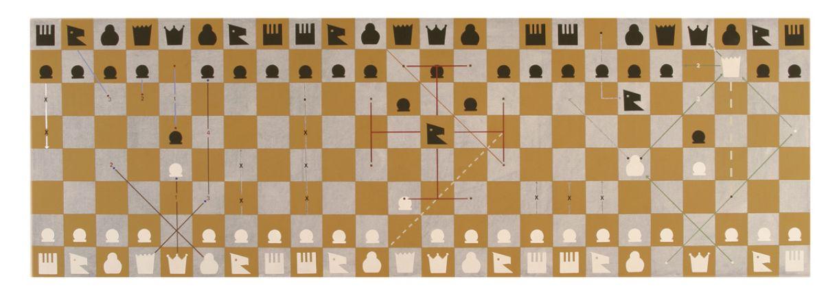 Na série 'Gráficos', algumas obras exploram elementos dos jogos de tabuleiro