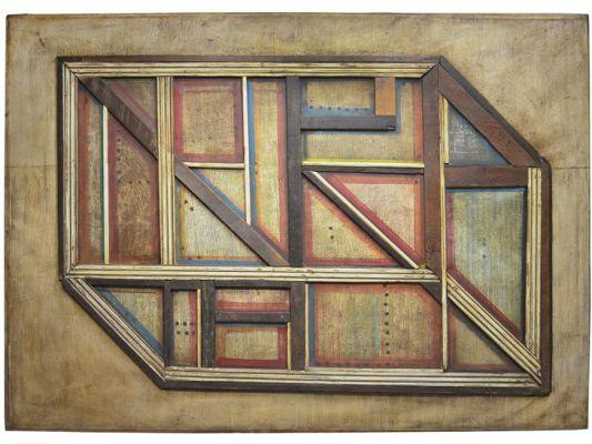 Em suas assemblages, Eudes leva para as telas pedaços de madeira. Imagem: Reprodução
