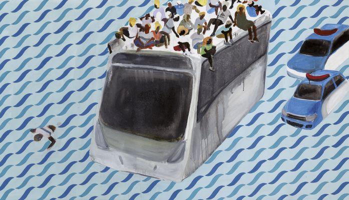 'Sem título', da série 'Caravelas de hoje', 2018, técnica mista sobre tela, 110 x 201 x 4 cm