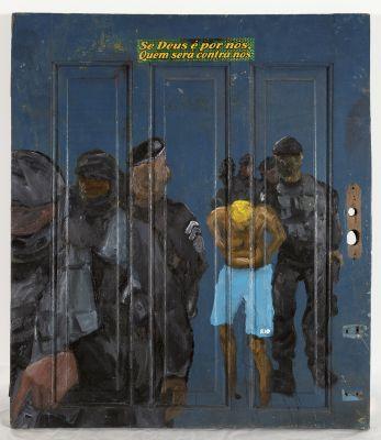 'Sem título', 2018 óleo sobre porta de madeira, 91 x 79 cm