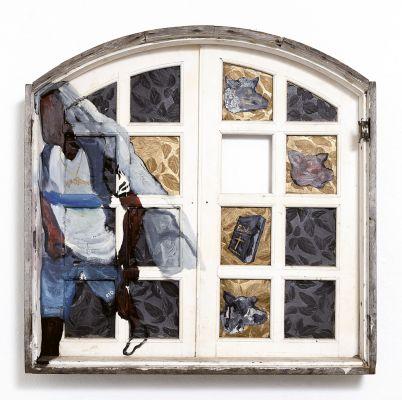 'Sem título', 2018, óleo, spray e plástico sobre janela de madeira e vidro, 99 x 100,2 cm