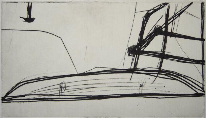 'Ônibus' (2004/2005), ponta seca. Por Flora Assumpção
