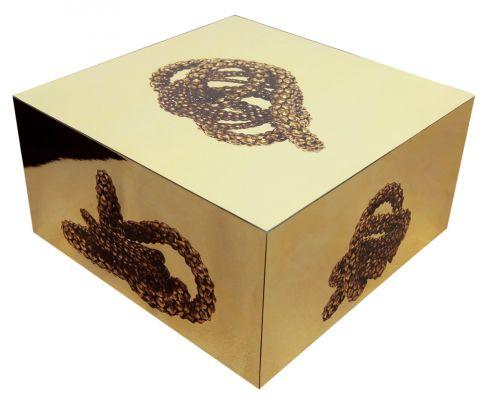 'Serpentes de ouro I', da série 'Serpentes fantasmas' (2012). Caixa de madeira e acetato e impressão em poliéster espelho, 14 x 30 x 30 cm. Por Flora Assumpção