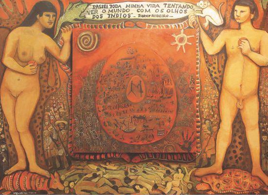 'A Gênese' ou 'Massacre dos índios', da série 'Sete luas de sangue', acrílico sobre madeira, 2,20 x 1,60 m, Tereza Costa Rêgo (2000)