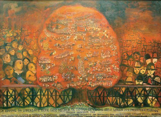 'Batalha dos Guararapes' ou 'A árvore da liberdade', da série 'Sete luas de sangue', acrílico sobre madeira, 1,60 x 2,20 m, Tereza Costa Rêgo (2000)