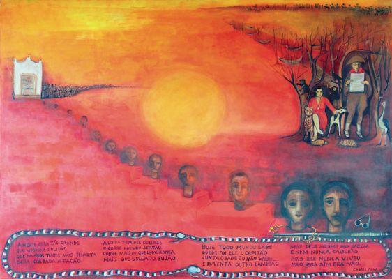 'O cangaço' ou 'A guerra do sol', da série 'Sete luas de sangue', acrílico sobre madeira, 1,60 x 2,20 m, Tereza Costa Rêgo (2000)