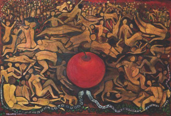 'Pecado original', da série 'Diário das frutas', acrílico sobre tela, 2,20 x 1,60 m, Tereza Costa Rêgo (2013)