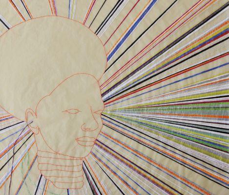 Detalhe de Follow the sun. Bordado, tinta e grafite sobre papel, 2017. Foto: Reprodução