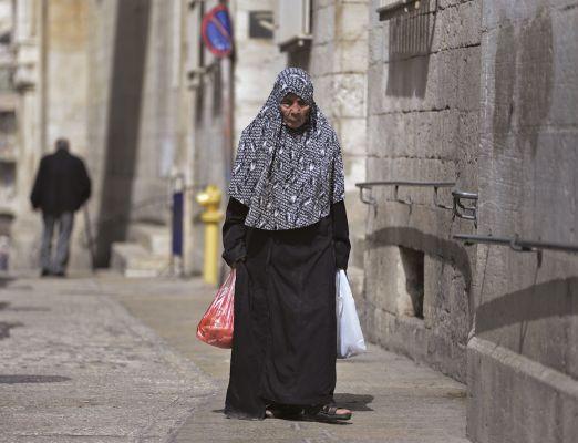 Muçulmana na Cidade Velha de Jerusalém