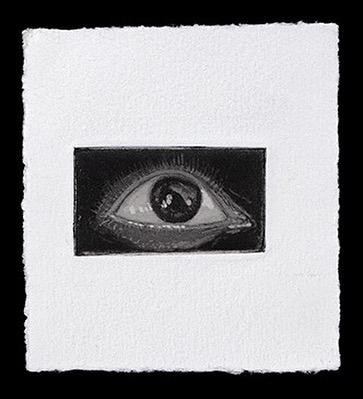 Gravura em preto e branco do olho do poeta Antonio Martinelli.