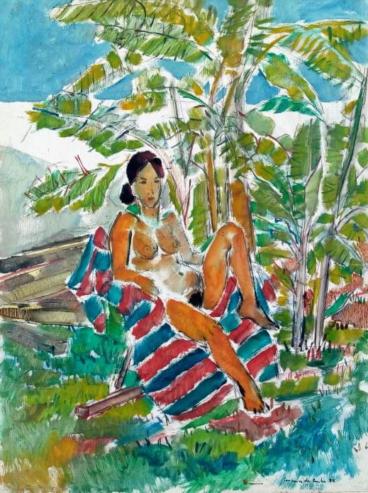 Carneiro da Cunha. Nu. Óleo sobre eucatex, 80x60cm, 1986
